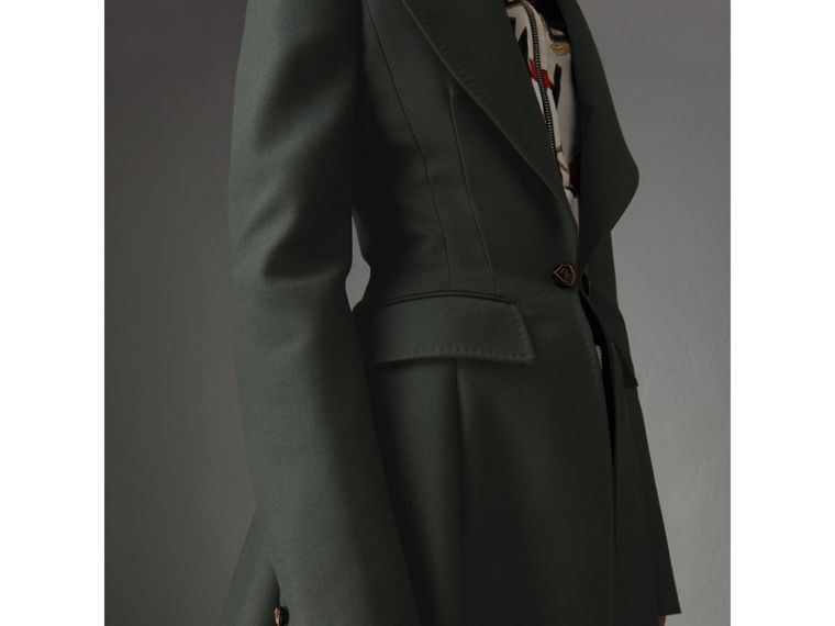 Crested Button Wool Tailored Coat in Racing Green/bright Navy - Women | Burberry - cell image 1