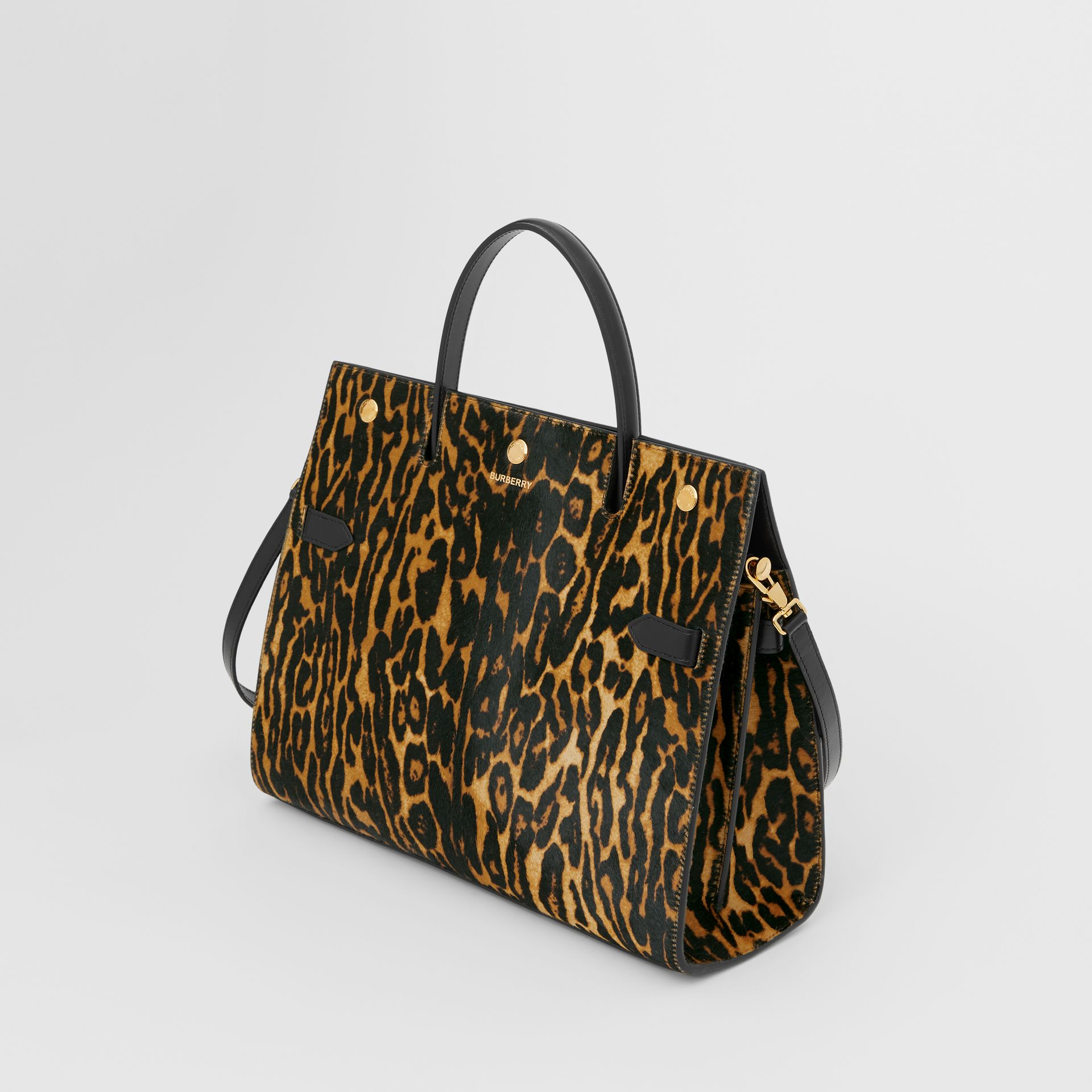 Medium Leopard Print Calf Hair and Leather Title Bag in Black - Women | Burberry United States - gallery image 2