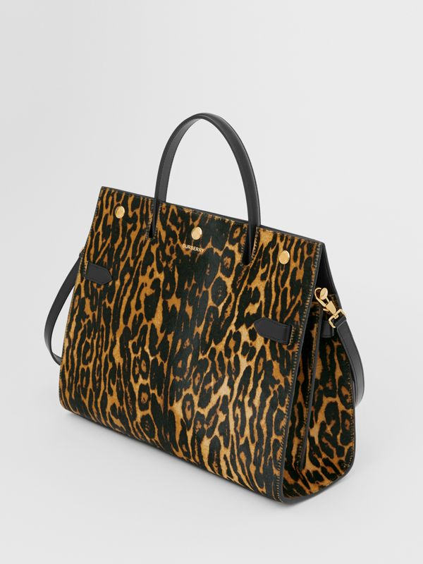 Medium Leopard Print Calf Hair and Leather Title Bag in Black - Women | Burberry United States - cell image 2