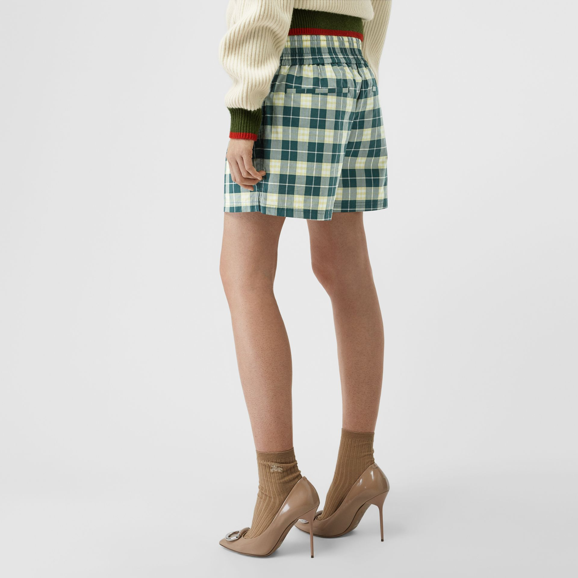 Check Cotton High-waisted Shorts in Dark Cedar - Women | Burberry - gallery image 2