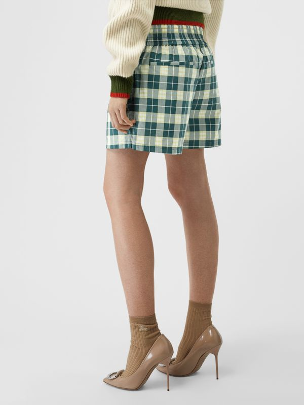 Check Cotton High-waisted Shorts in Dark Cedar - Women | Burberry - cell image 2
