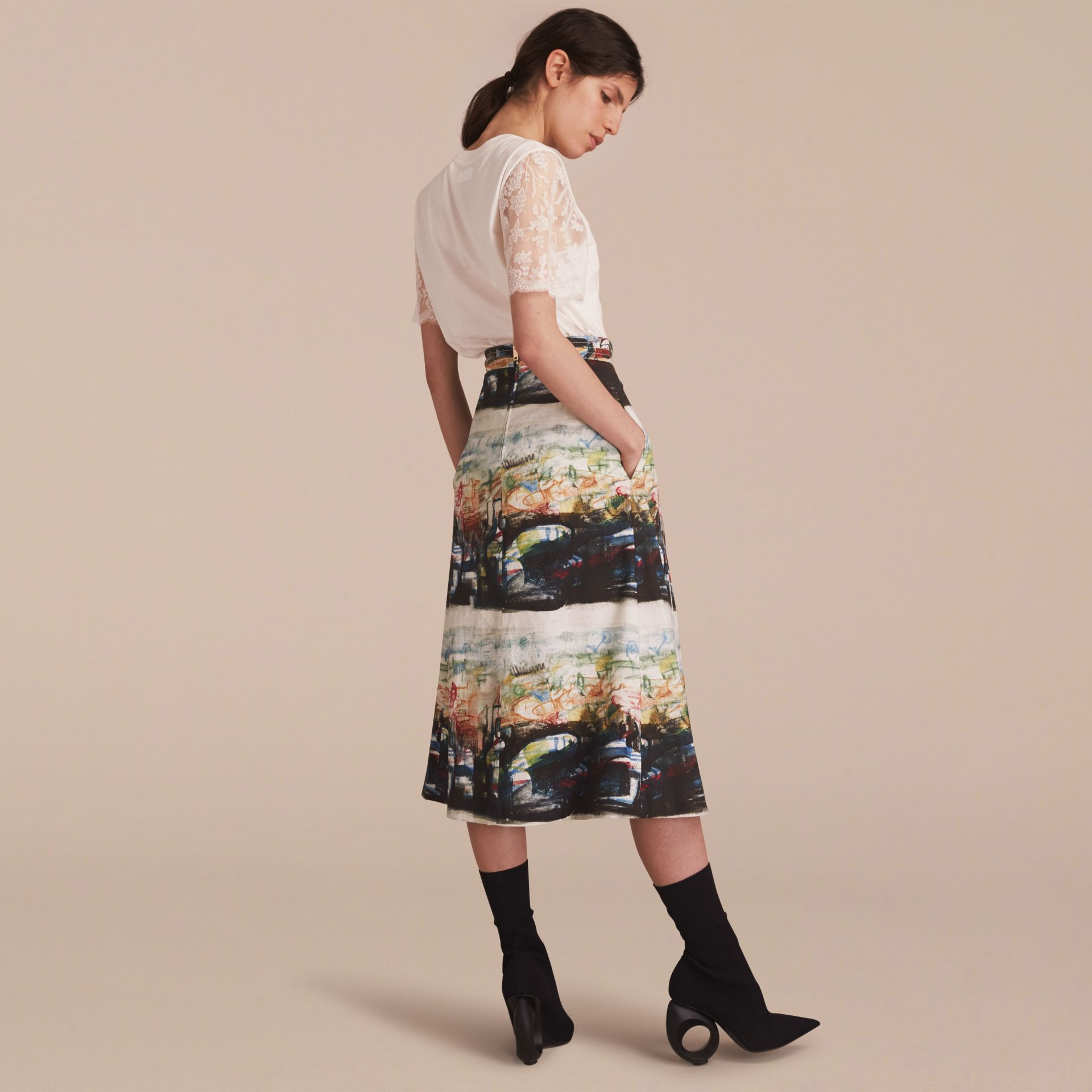 Reclining Figures: Bunched Print Stretch Cotton Skirt in Natural White - Women | Burberry - gallery image 2