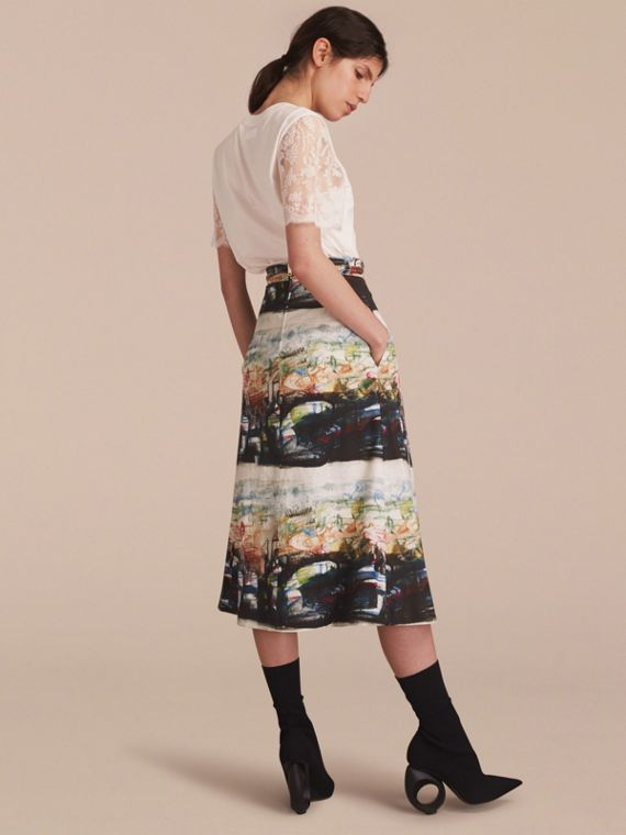 Reclining Figures: Bunched Print Stretch Cotton Skirt in Natural White - Women | Burberry Australia - cell image 2