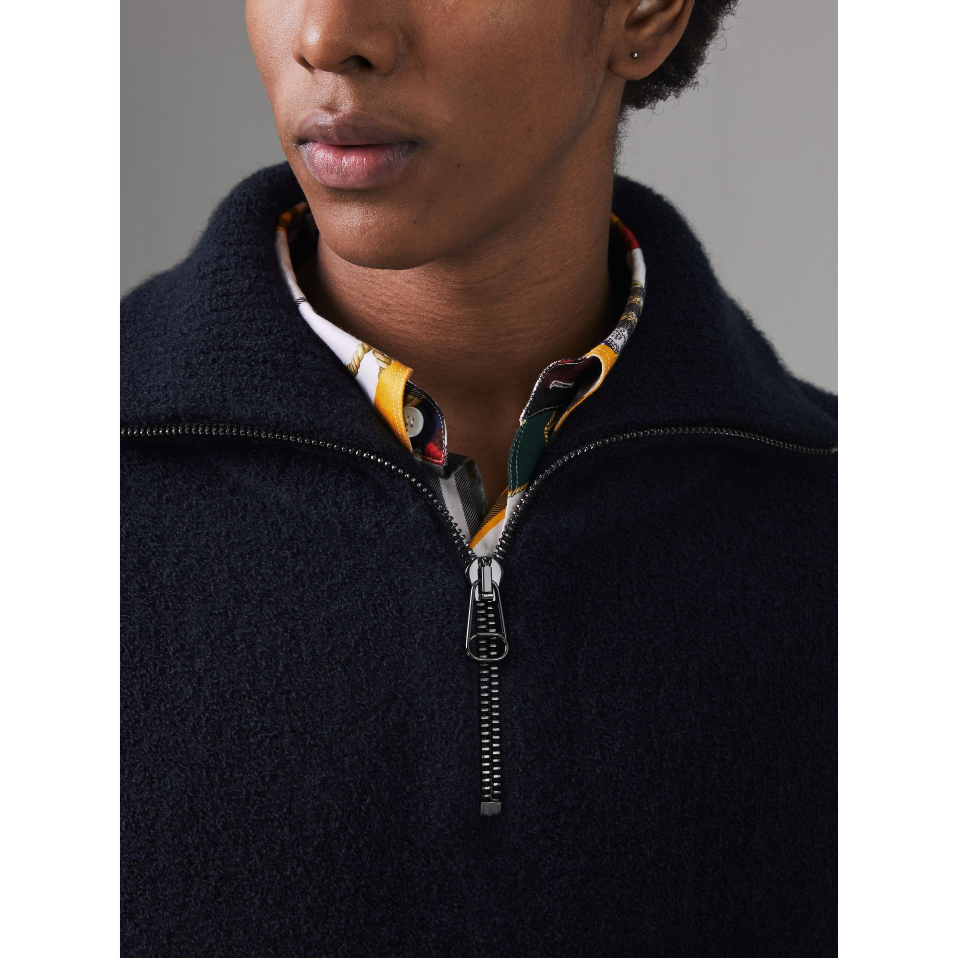 Zip-neck Cashmere Blend Fleece Sweater in Navy - Men | Burberry Canada - gallery image 1