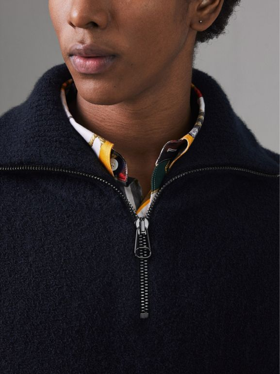 Zip-neck Cashmere Blend Fleece Sweater in Navy - Men | Burberry - cell image 1