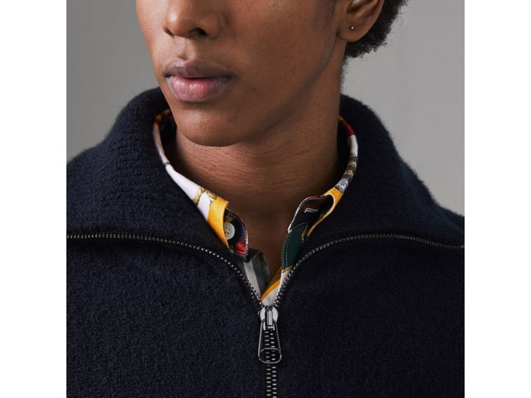 Zip-neck Cashmere Blend Fleece Sweater in Navy - Men | Burberry United Kingdom - cell image 1