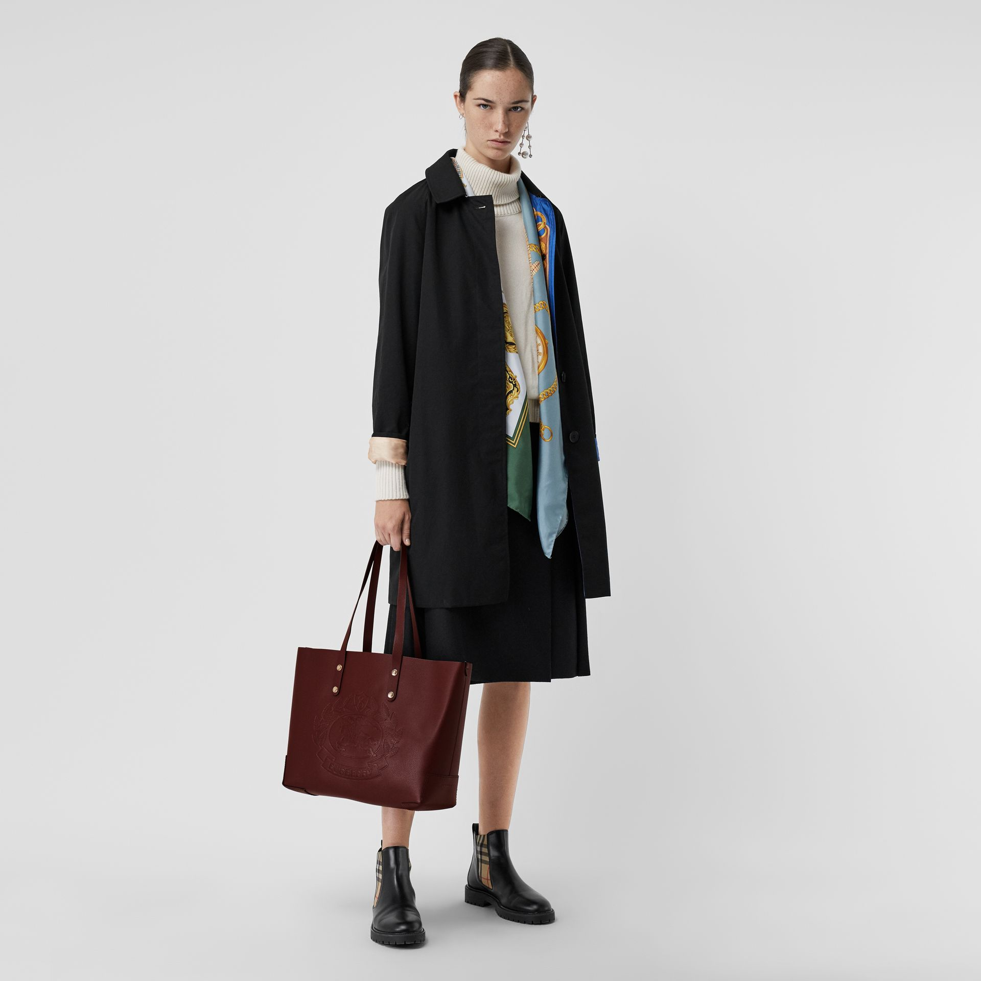 Small Embossed Crest Leather Tote in Burgundy | Burberry Australia - gallery image 2