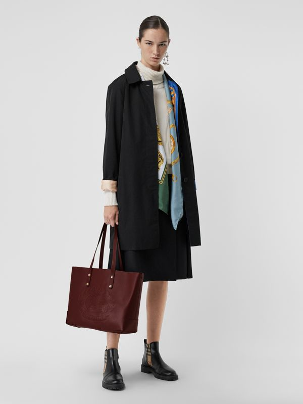 Small Embossed Crest Leather Tote in Burgundy | Burberry Australia - cell image 2