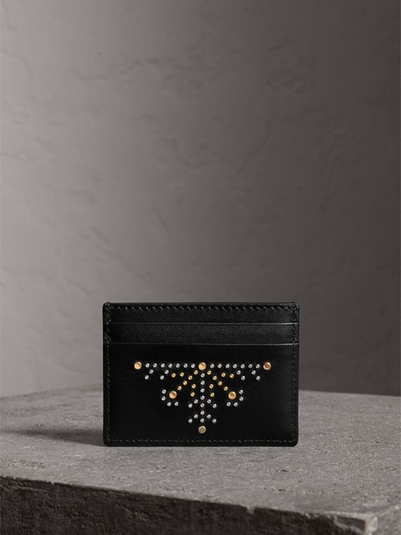 Riveted Leather Card Case in Black | Burberry United States - cell image 3