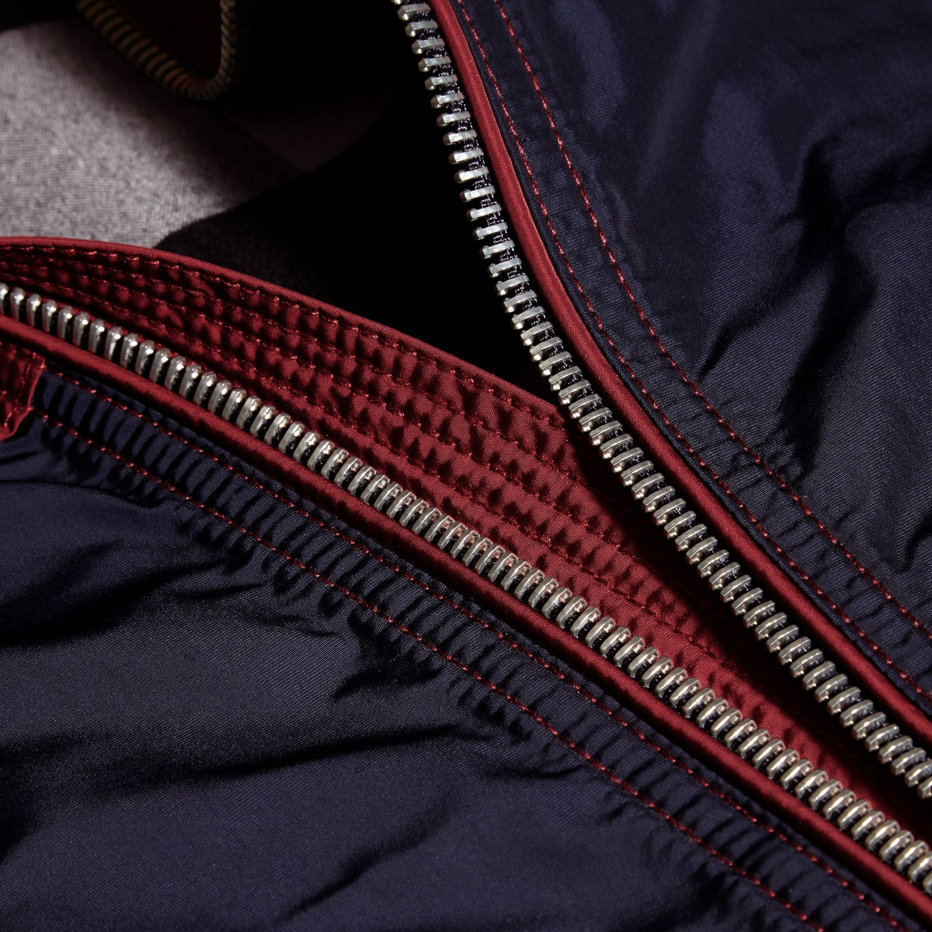 Dark crimson Colour Block Technical Jacket with Hood - gallery image 2