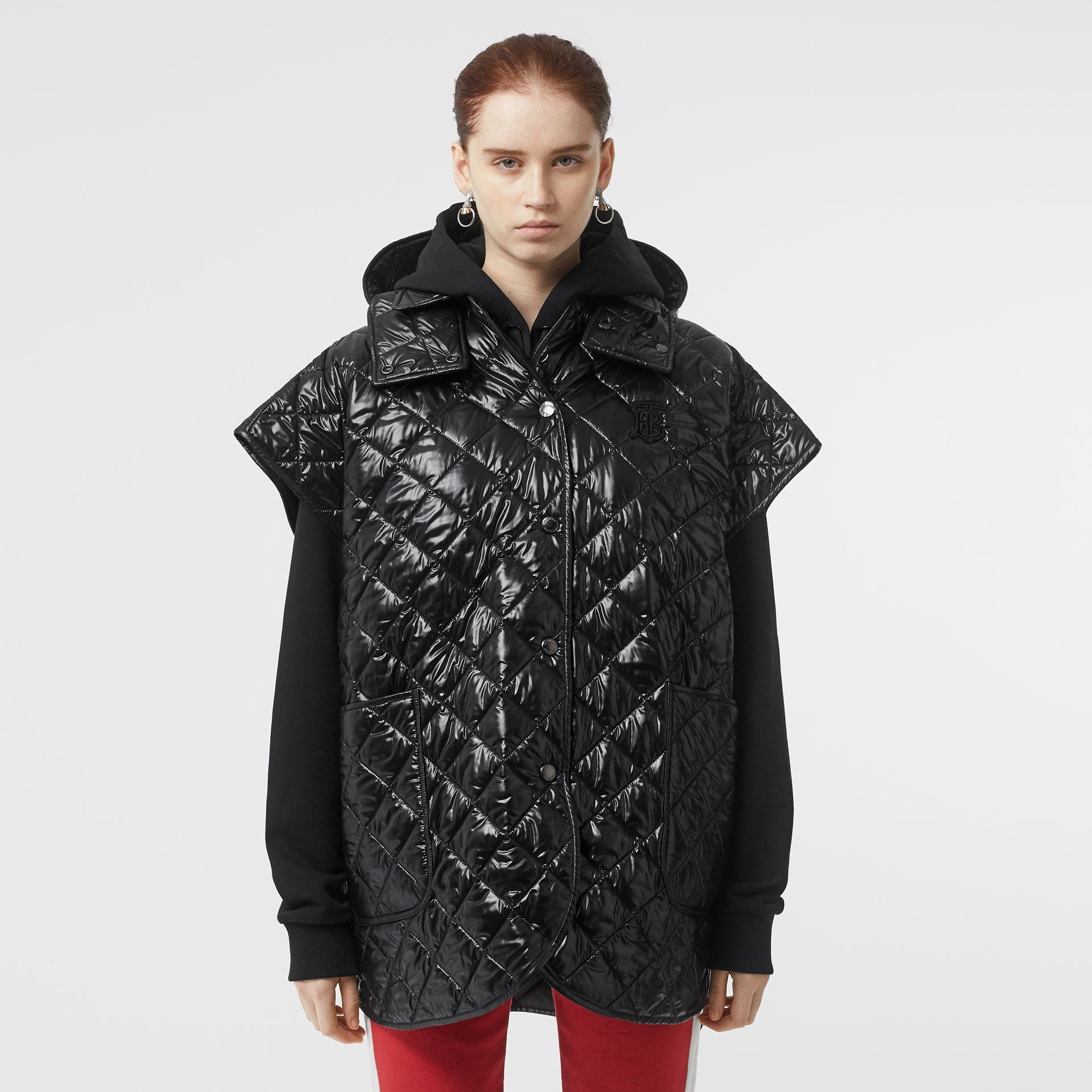 Detachable Hood Diamond Quilted Cape in Black - Women | Burberry - gallery image 5