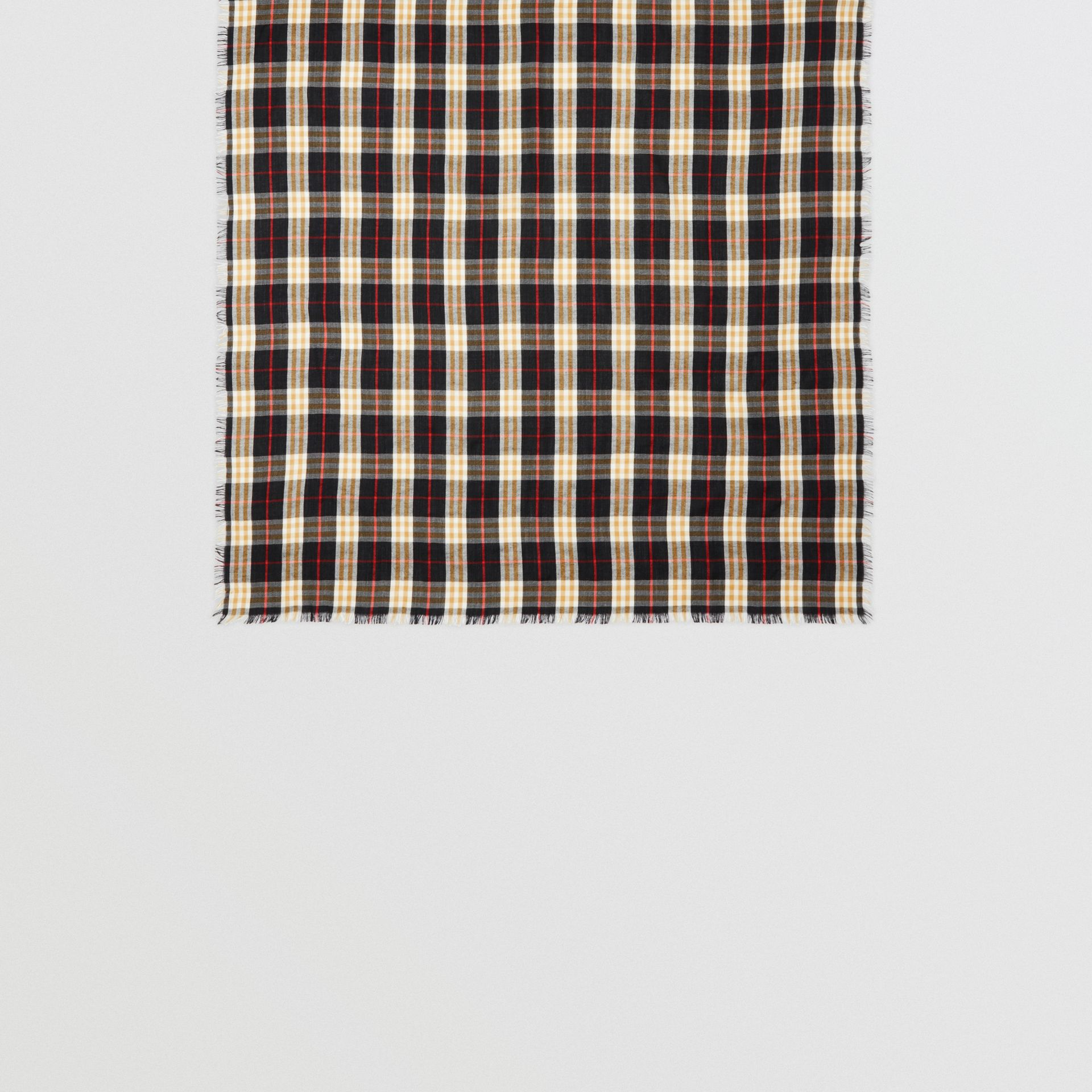Vintage Check Lightweight Cashmere Scarf in Black | Burberry Canada - gallery image 4