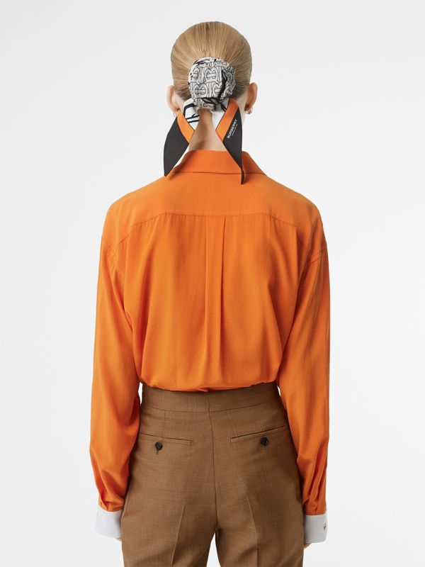 Contrast Cuff Silk Oversized Shirt in Orange - Women | Burberry - cell image 2