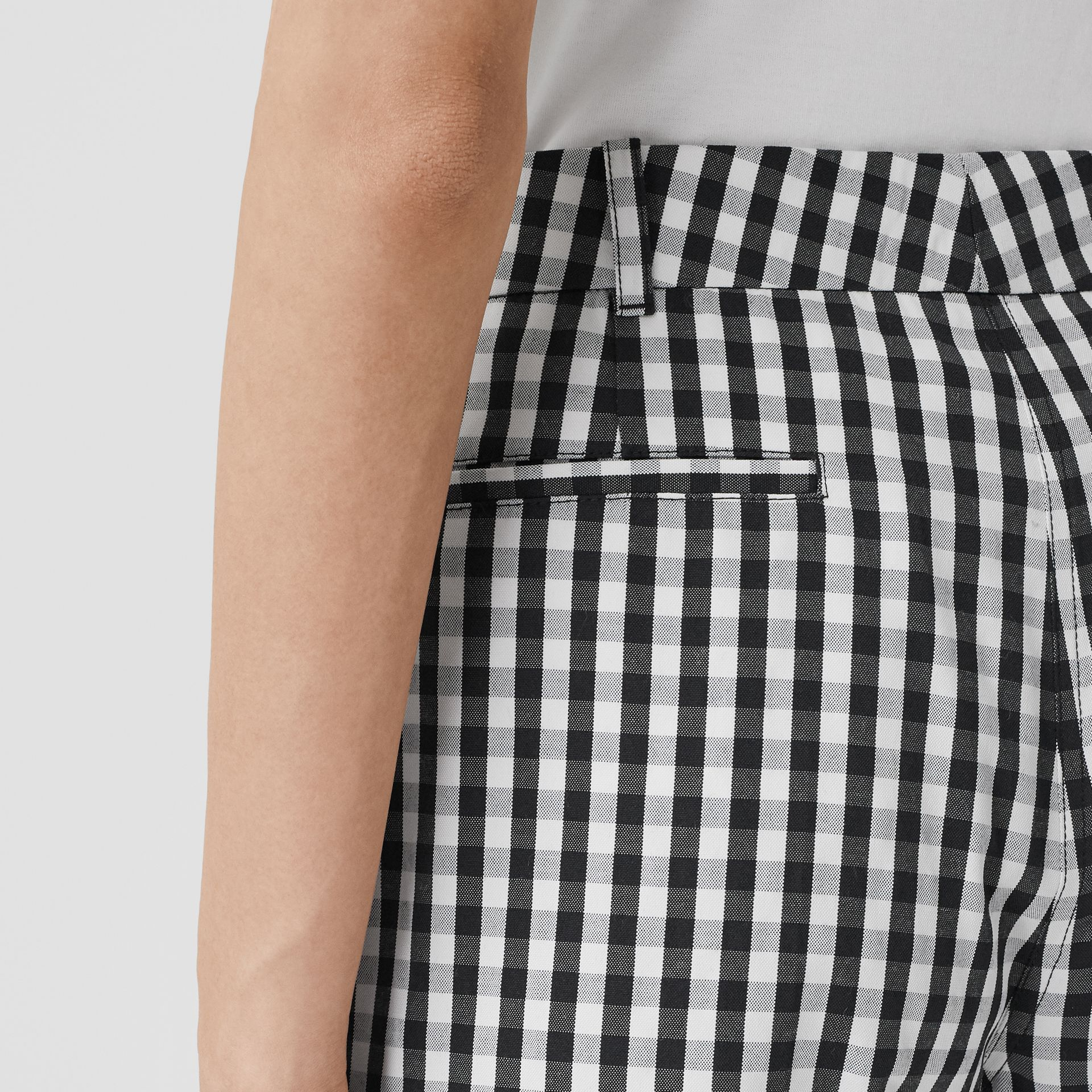 Gingham Technical Wool Cropped Trousers in Black - Women | Burberry - gallery image 1