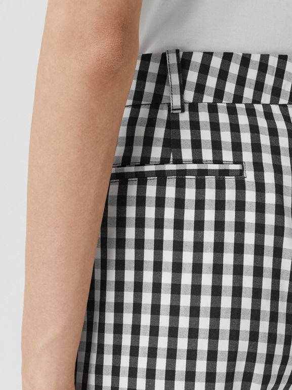 Gingham Technical Wool Cropped Trousers in Black - Women | Burberry - cell image 1