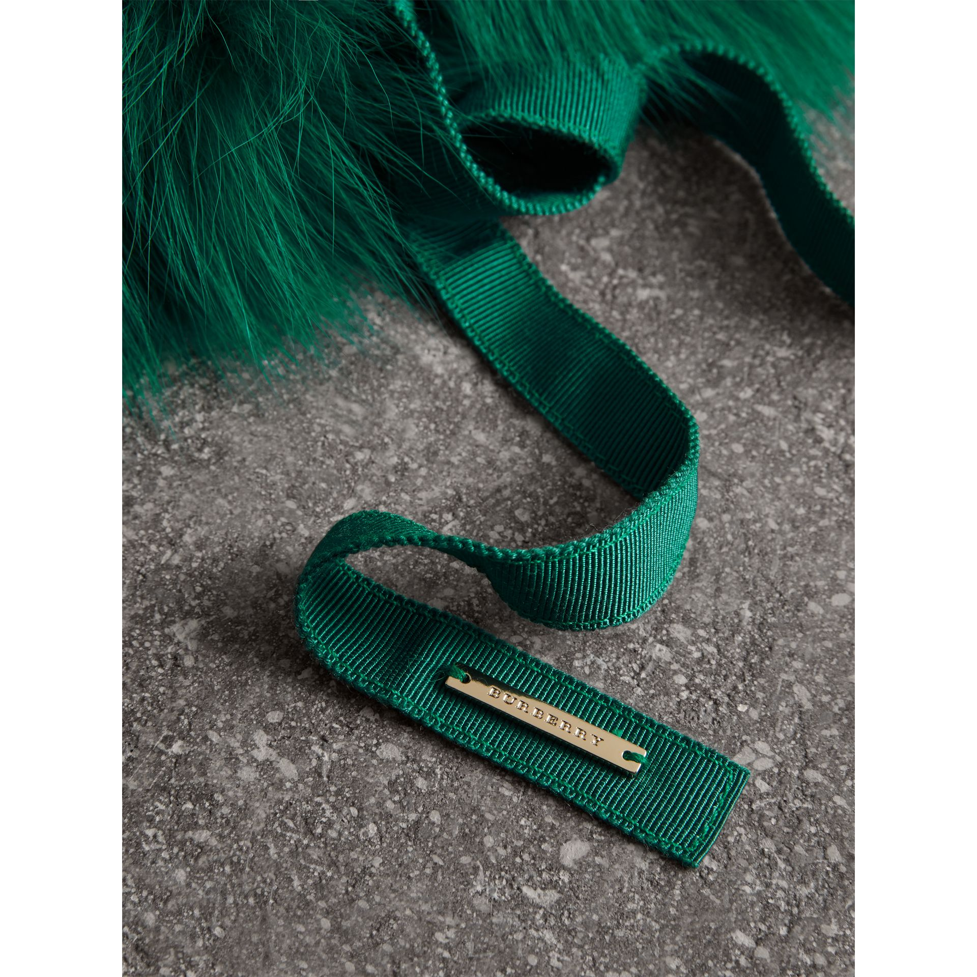 Fox Fur Collar with Check Cashmere Lining in Emerald - Women | Burberry - gallery image 1