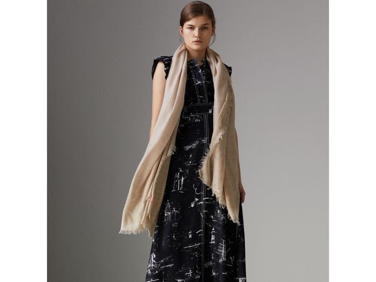 Embroidered Cashmere Cotton Scarf in Stone | Burberry Singapore - cell image 2