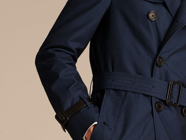 Flint blue Leather Detail Cotton Gabardine Trench Coat - cell image 4