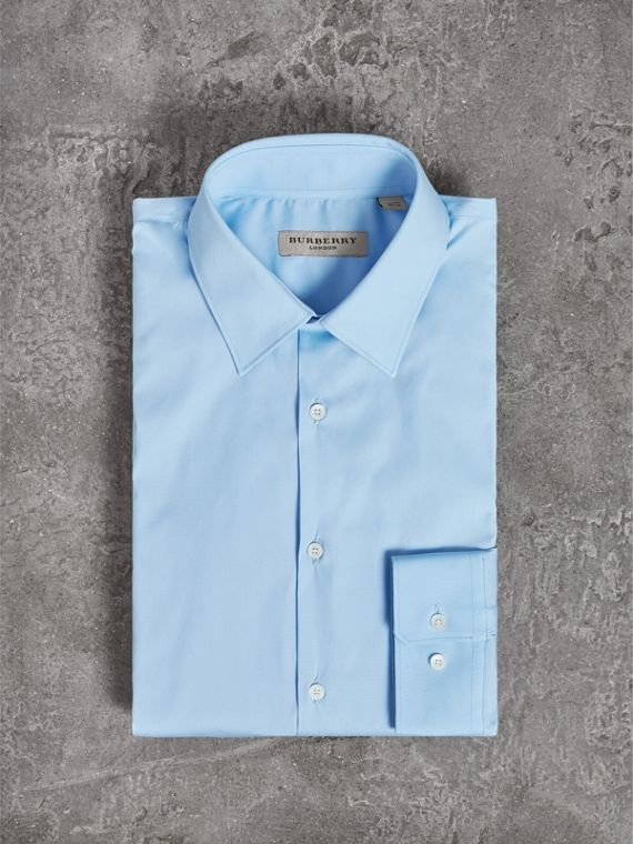 Modern Fit Stretch Cotton Shirt in City Blue - Men | Burberry - cell image 3