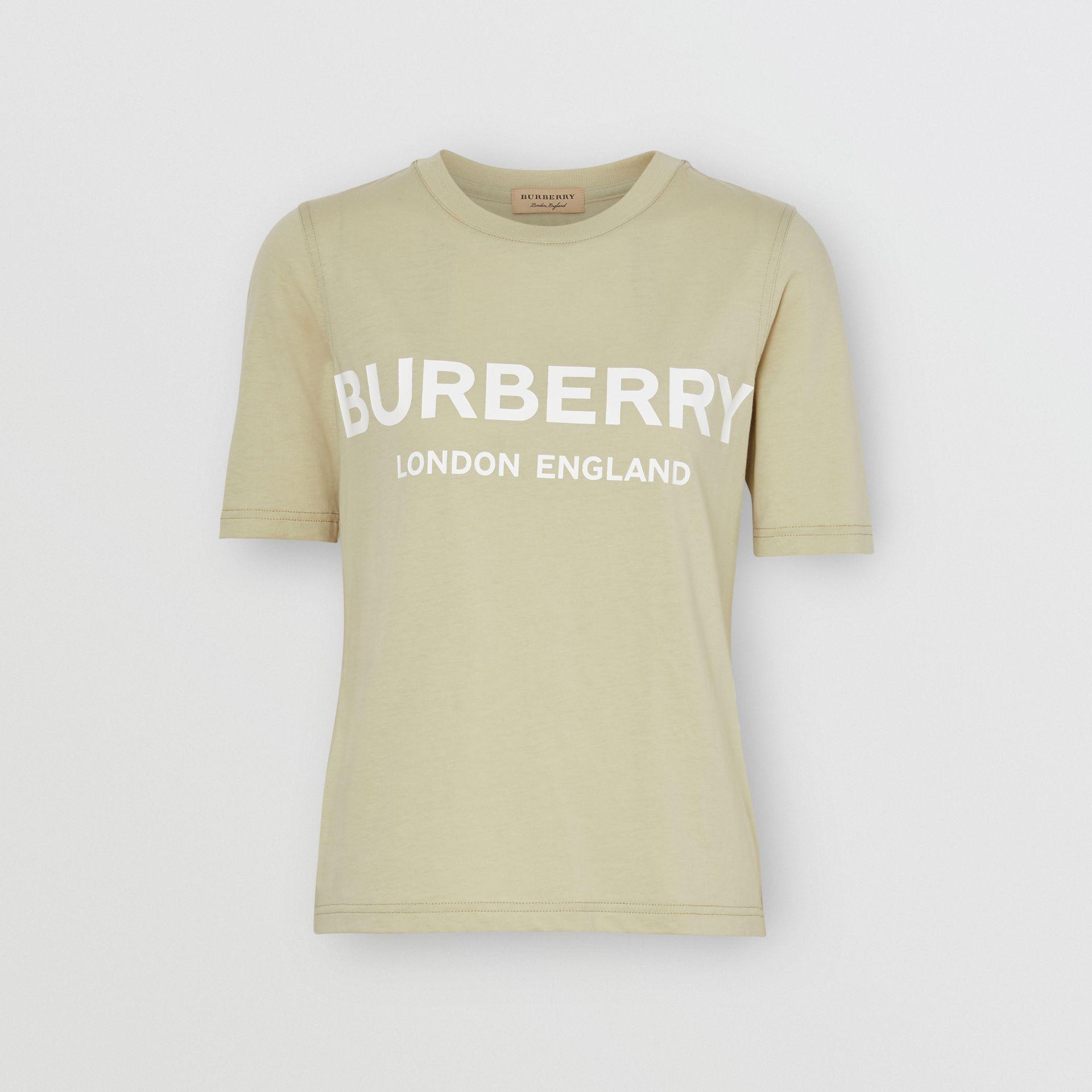 Logo Print Cotton T-shirt in Pale Apple Green - Women | Burberry - gallery image 3