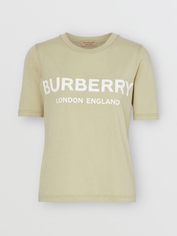 Logo Print Cotton T-shirt in Pale Apple Green - Women | Burberry - cell image 3