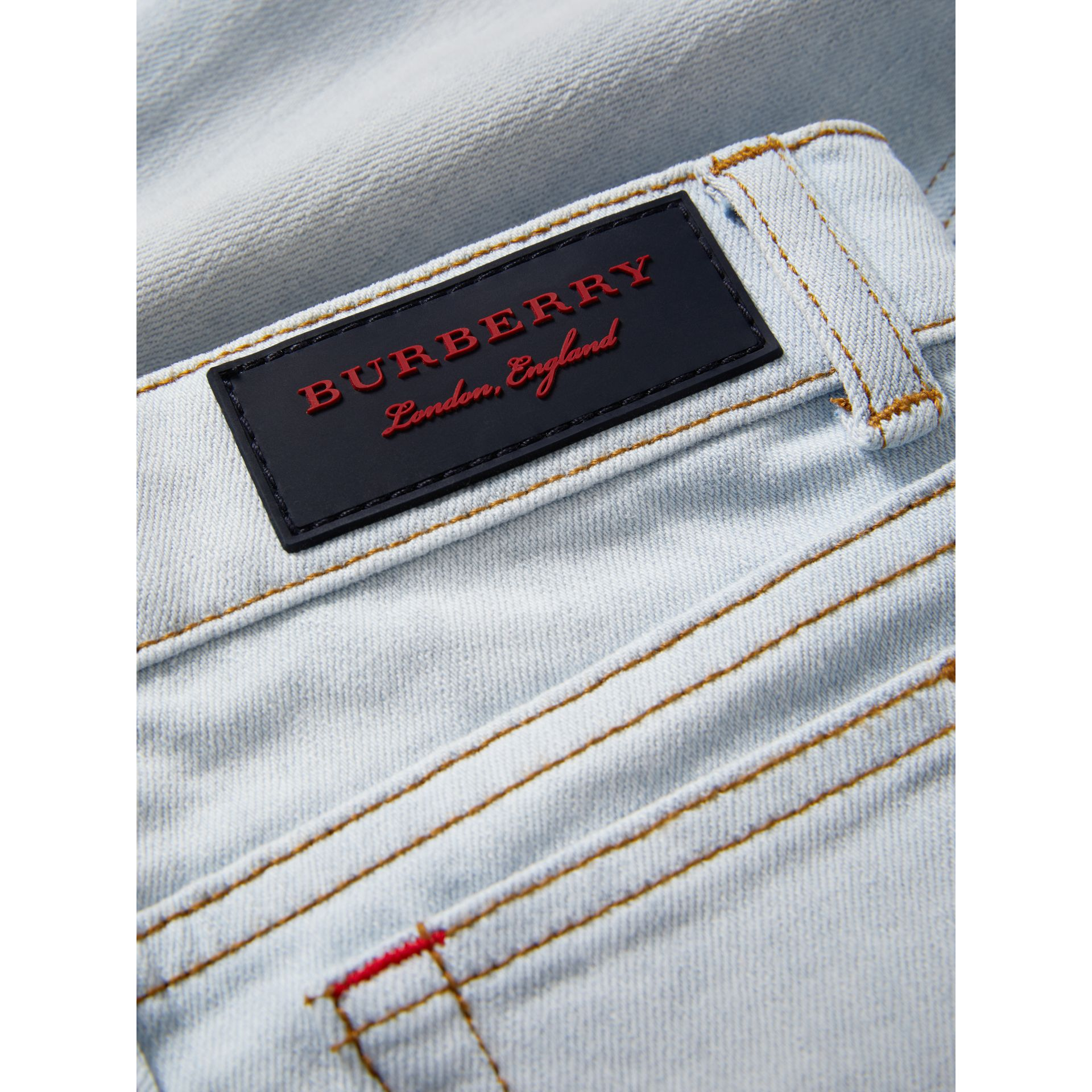 Skinny Fit Stretch Jeans in Light Blue - Boy | Burberry Canada - gallery image 1