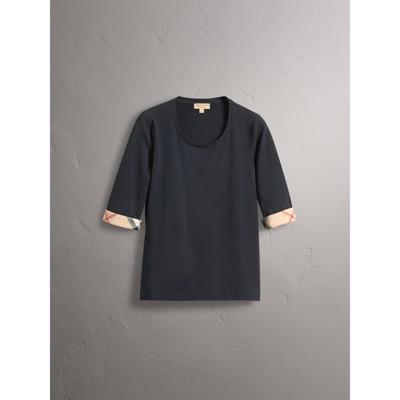 Burberry - Haut en coton extensible avec revers à motif check - 4