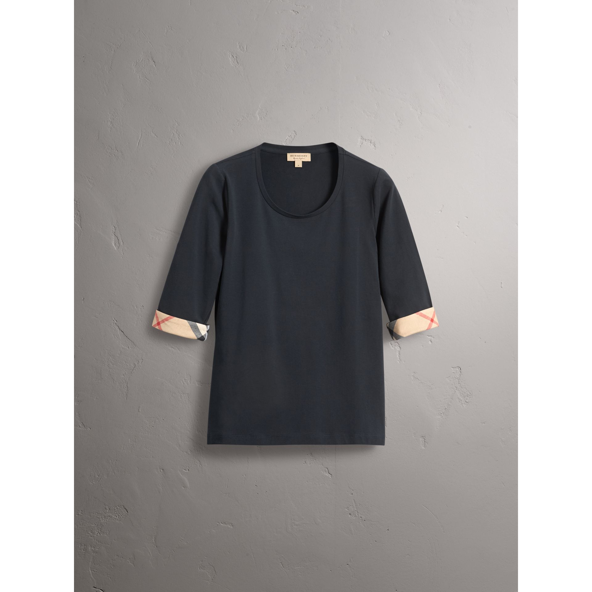 Check Cuff Stretch-Cotton Top in Navy - Women | Burberry - gallery image 4