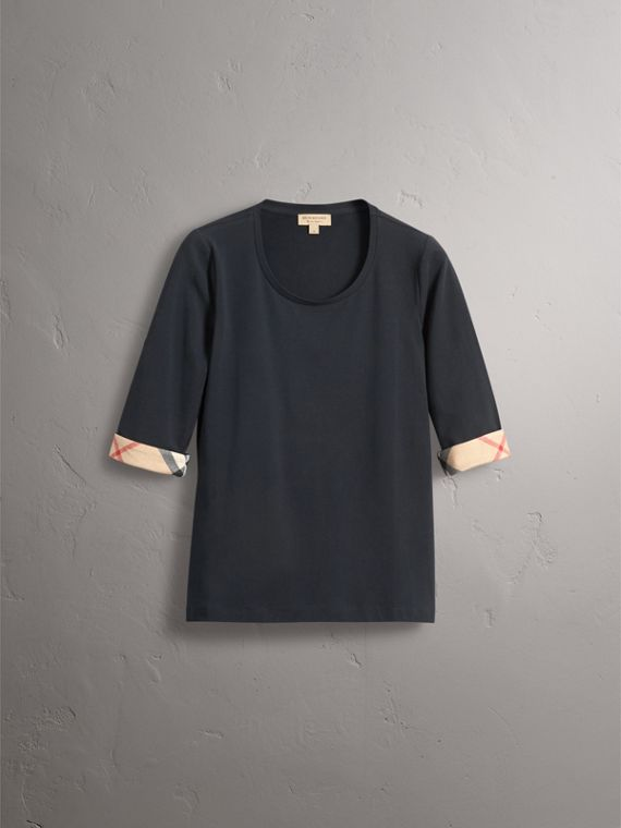 Check Cuff Stretch-Cotton Top in Navy - Women | Burberry - cell image 3