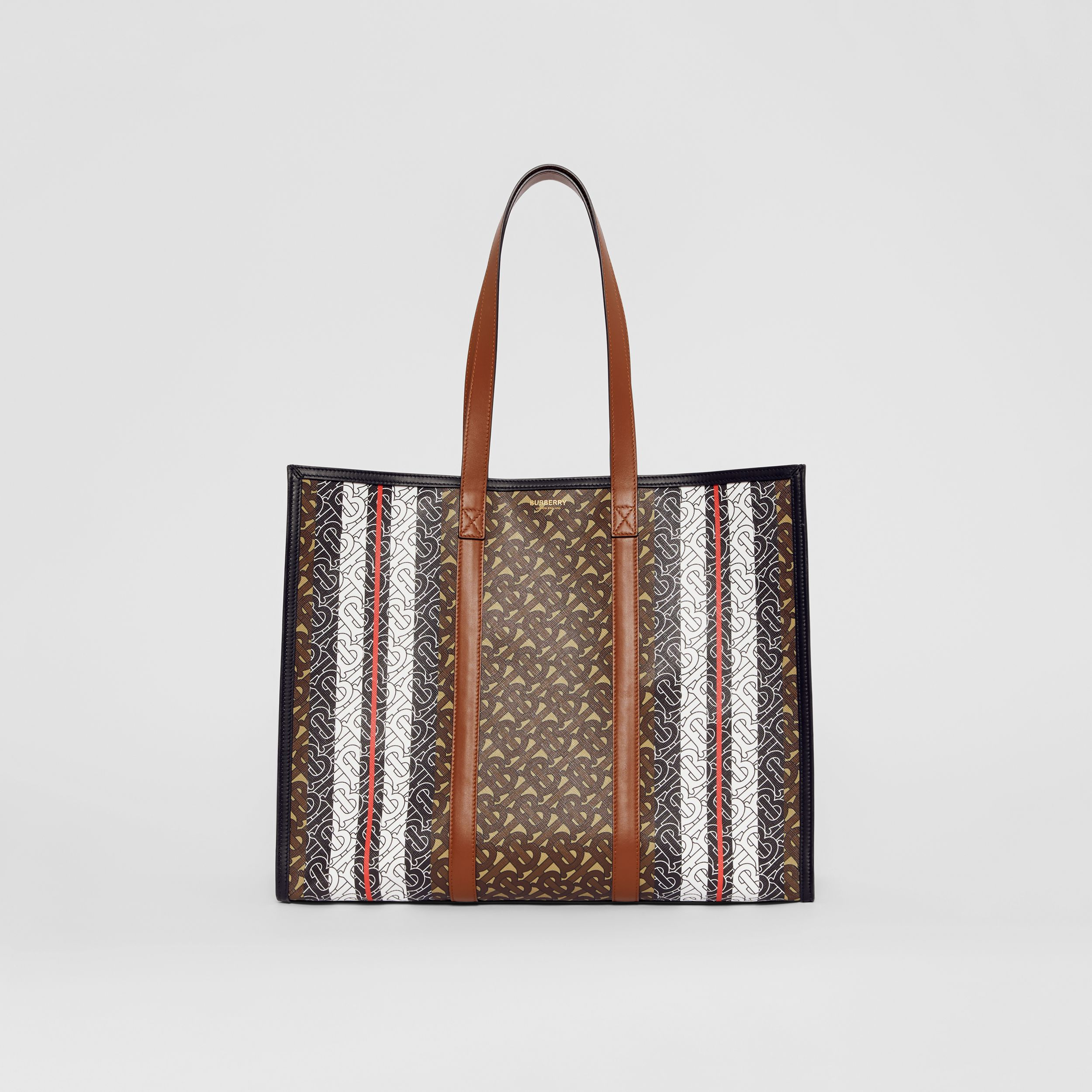 Monogram Stripe E-canvas Tote Bag in Bridle Brown | Burberry - 1