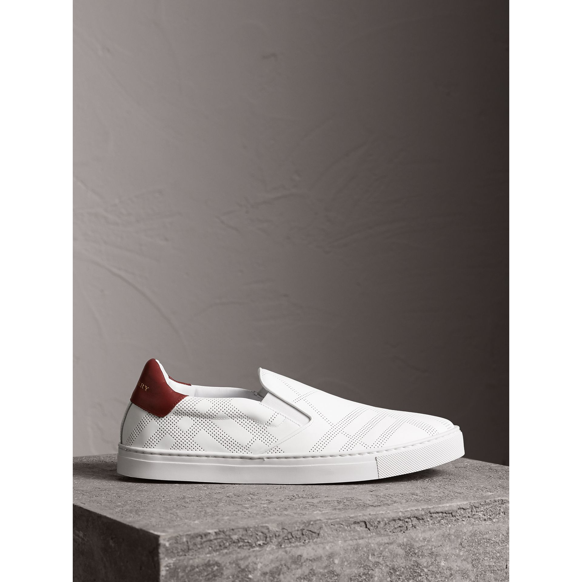 Perforated Check Leather Slip-on Trainers in Optic White/deep Claret Melange - Men | Burberry United States - gallery image 5