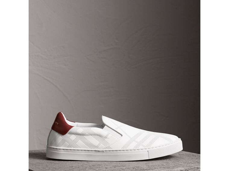 Perforated Check Leather Slip-on Trainers in Optic White/deep Claret Melange - Men | Burberry United States - cell image 4