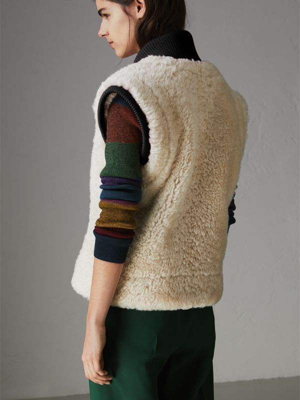 Two-tone Rib Knit Trim Shearling Gilet in Natural White - Women | Burberry - cell image 2