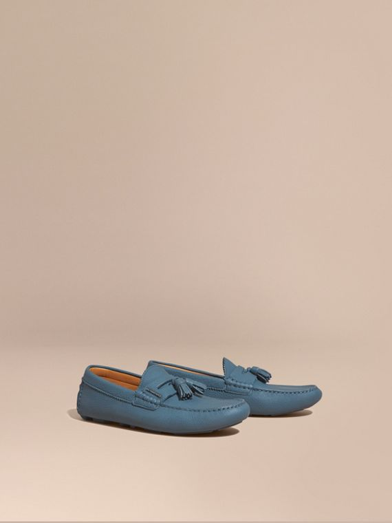 Tasselled Grainy Leather Loafers in Dark Mineral Blue