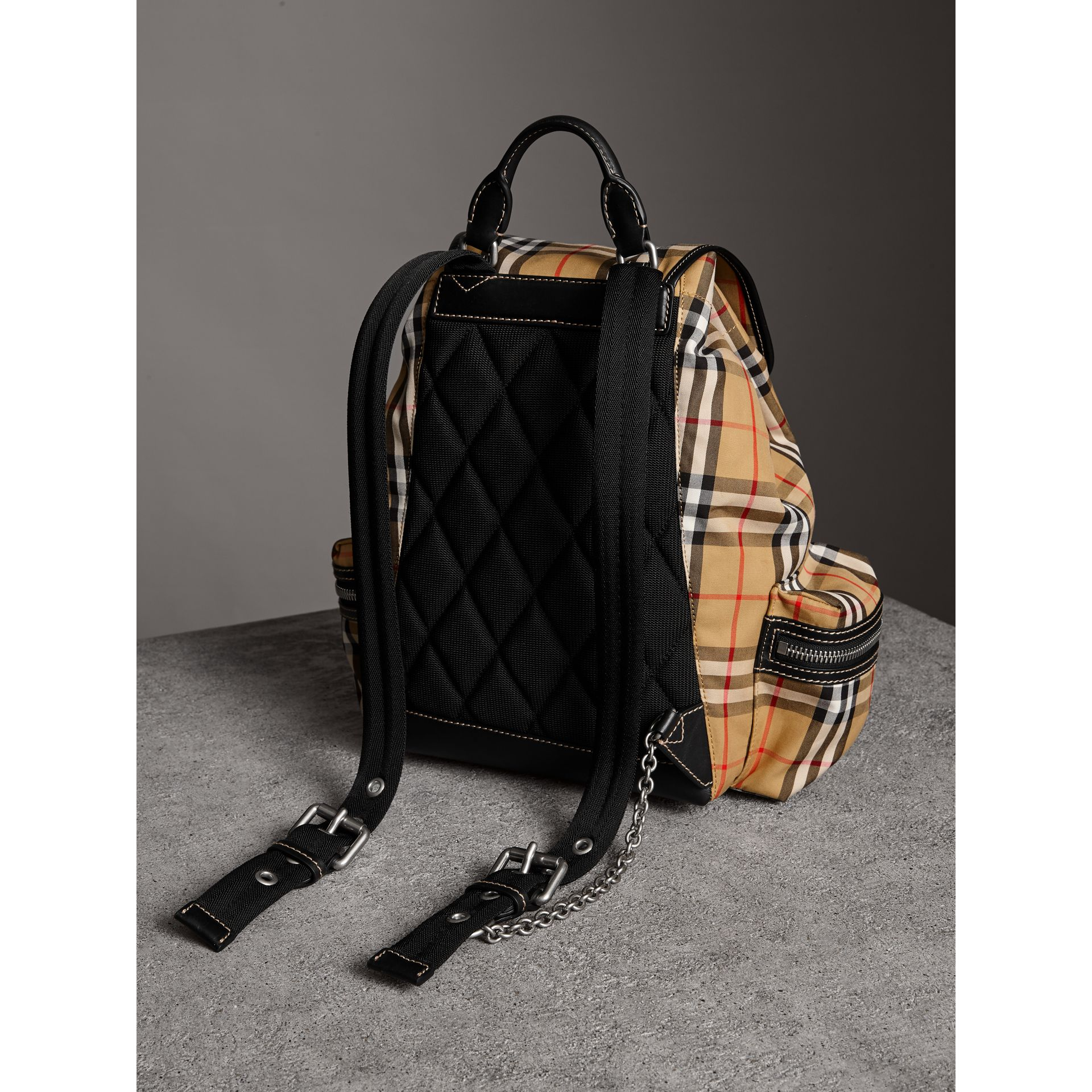 The Medium Rucksack in Vintage Check and Leather in Antique Yellow - Women | Burberry - gallery image 4