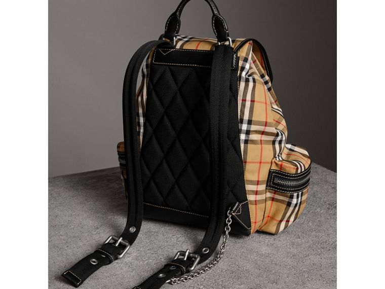 The Medium Rucksack in Vintage Check and Leather in Antique Yellow - Women | Burberry Hong Kong - cell image 4