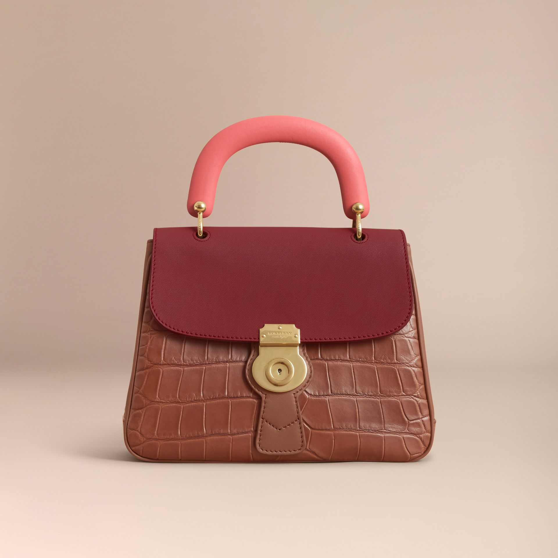 The Medium DK88 Top Handle Bag with Alligator in Tan/antique Red - Women | Burberry Singapore - gallery image 7