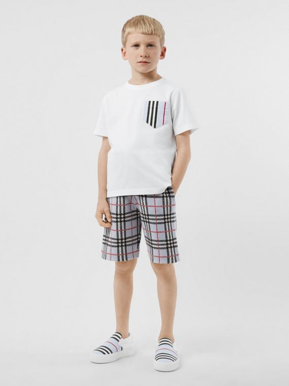 Icon Stripe Pocket Cotton T-shirt in White/pale Blue