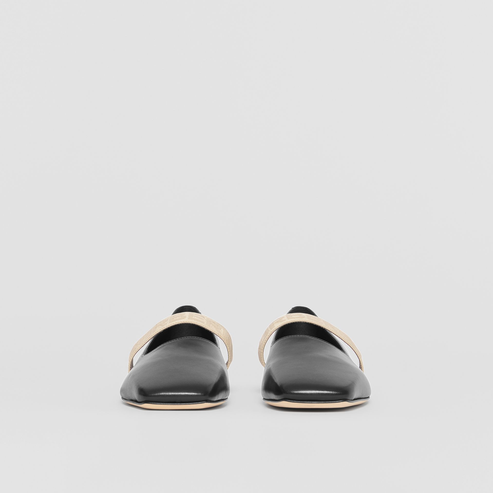Logo Detail Lambskin Flats in Black - Women | Burberry United Kingdom - gallery image 3