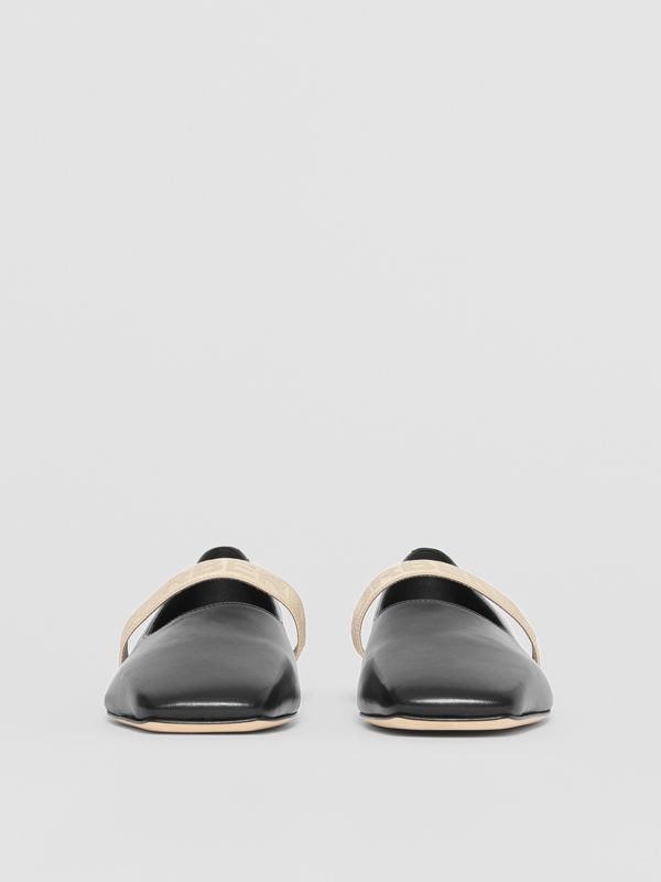Logo Detail Lambskin Flats in Black - Women | Burberry Singapore - cell image 3