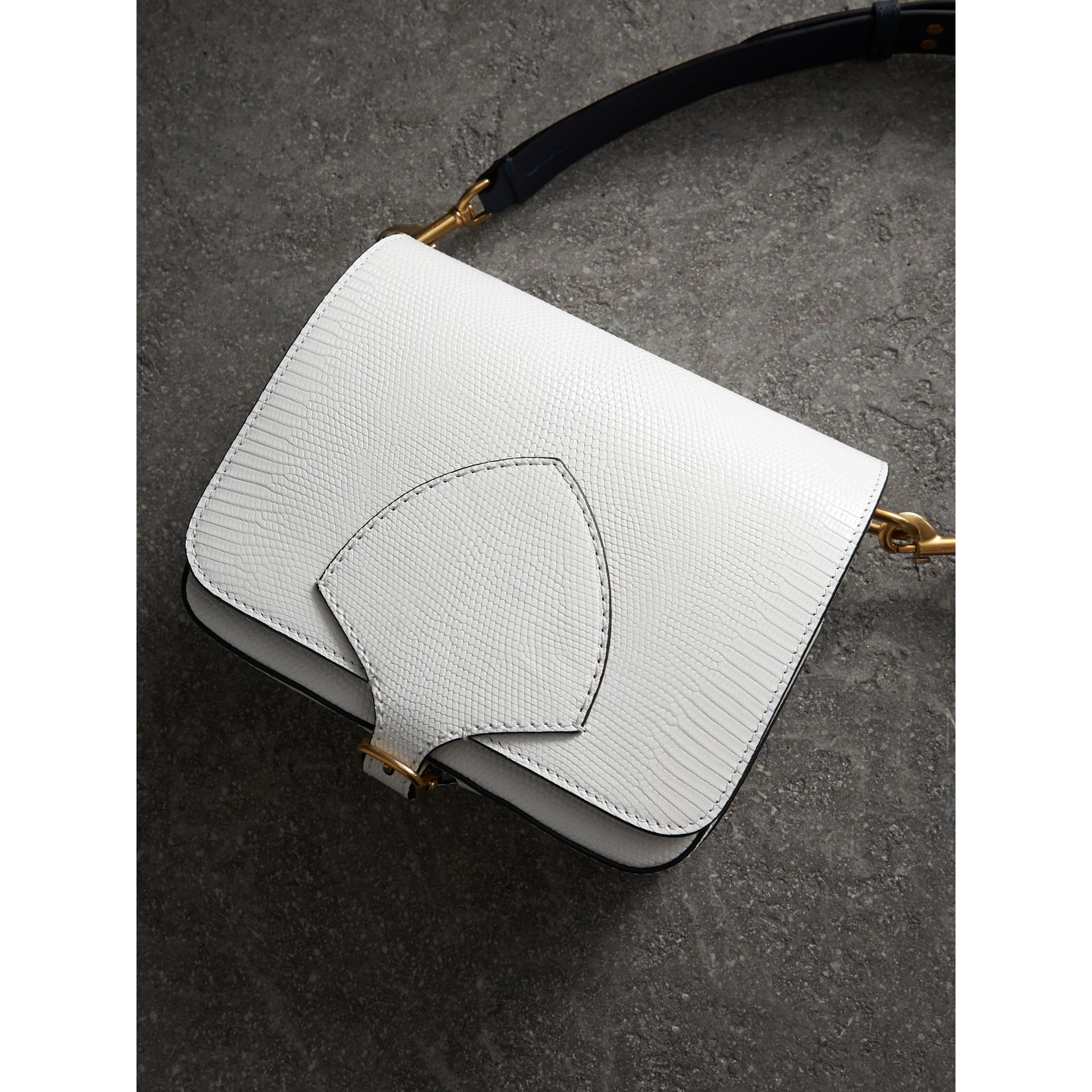 The Square Satchel in Lizard in White - Women | Burberry - gallery image 7