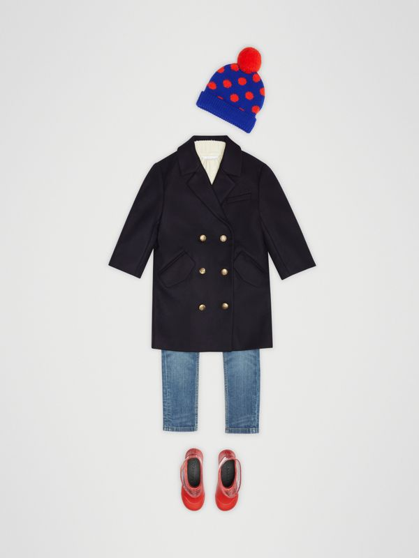 Crested Button Wool Pea Coat in Navy | Burberry - cell image 2