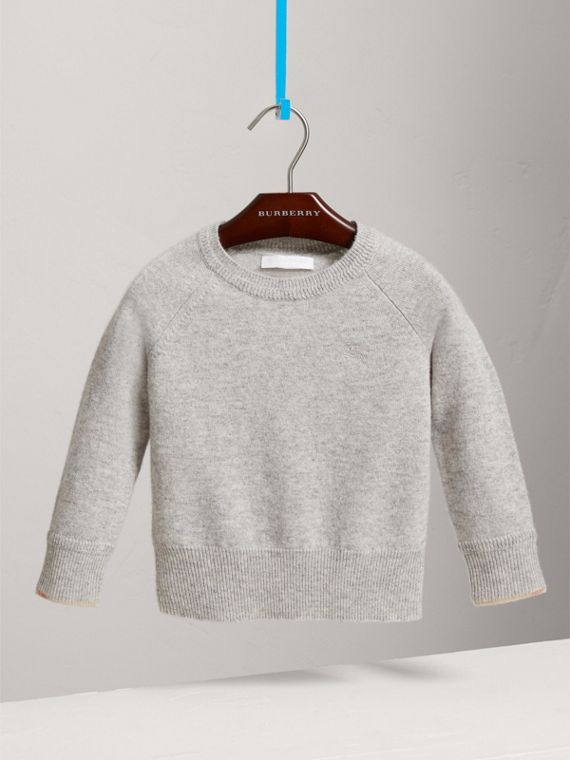 Check Detail Cashmere Sweater in Light Grey Melange - Girl | Burberry Canada - cell image 2
