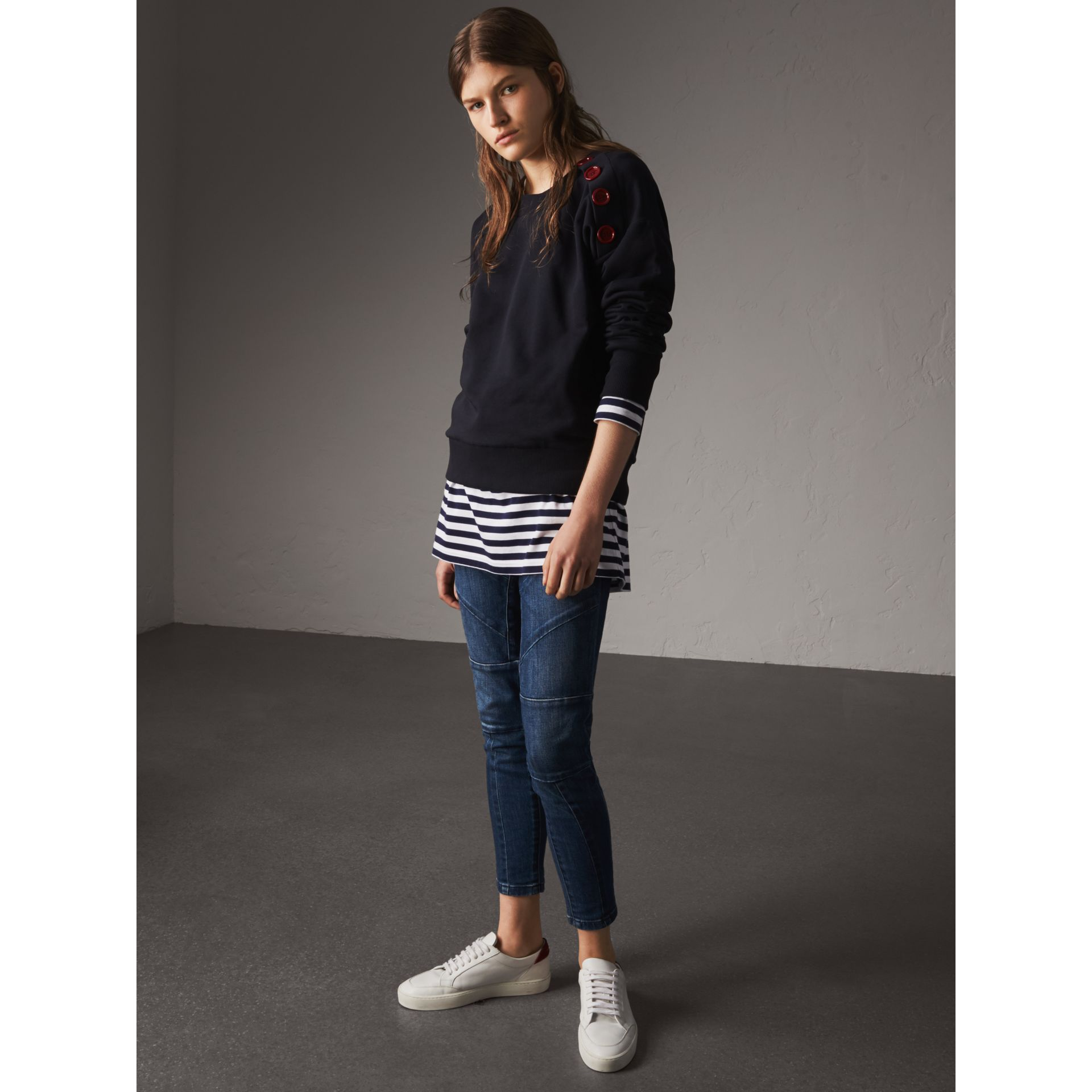 Resin Button Cotton Sweatshirt in Navy - Women | Burberry - gallery image 5