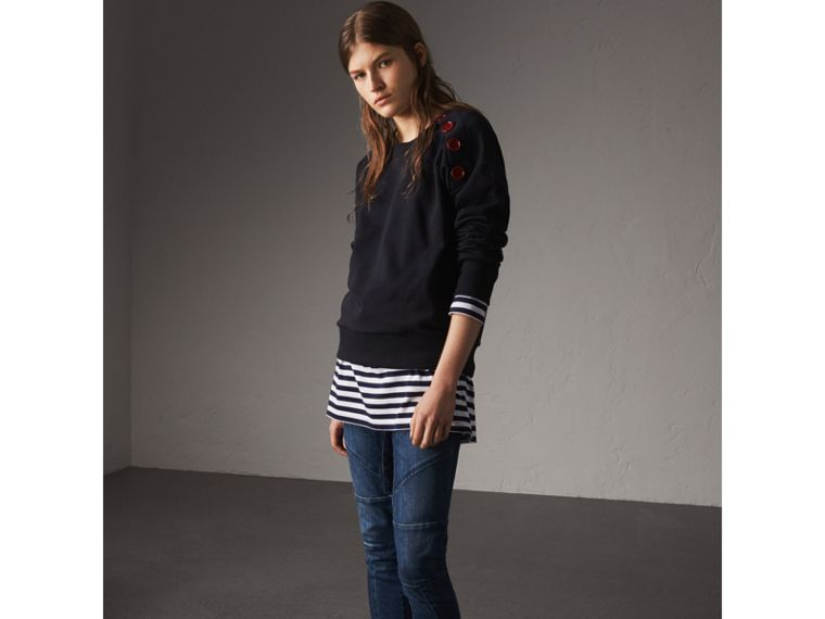 Resin Button Cotton Sweatshirt in Navy - Women | Burberry - cell image 4