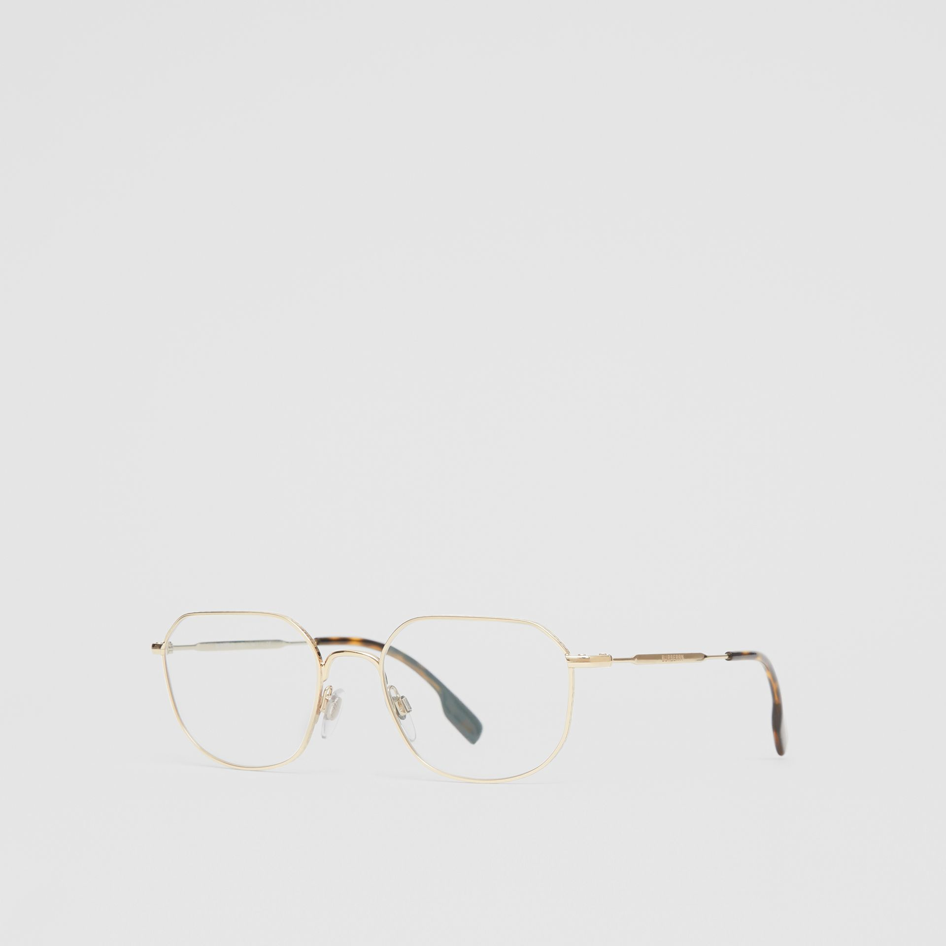 Gold-plated Square Optical Frames in Light - Men | Burberry - gallery image 5