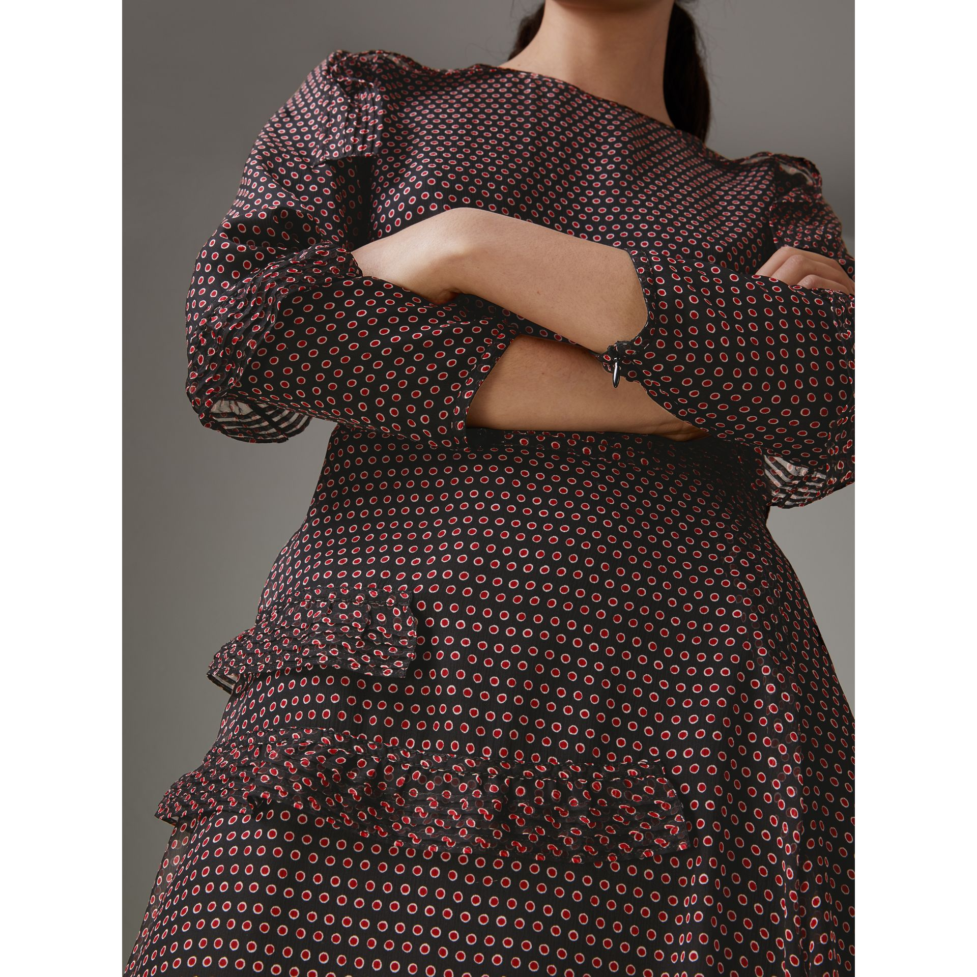 Long-sleeve Ruffle Detail Spot Print Silk Dress in Parade Red - Women | Burberry Australia - gallery image 1