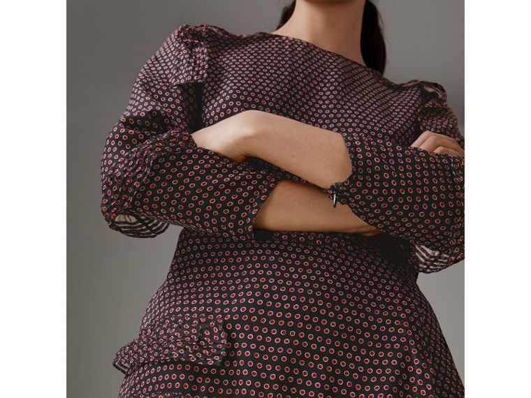 Long-sleeve Ruffle Detail Spot Print Silk Dress in Parade Red - Women | Burberry - cell image 1