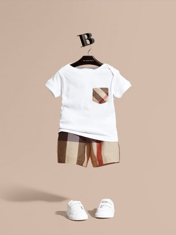 Check Technical Cotton Swim Shorts | Burberry