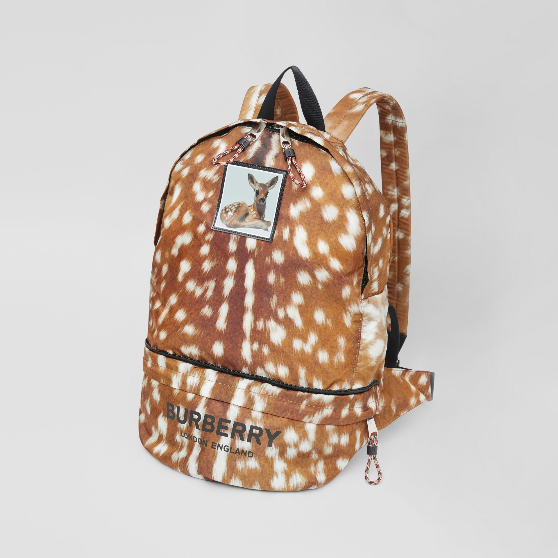 Deer Print Convertible Bum Bag in Tan/white | Burberry - gallery image 4